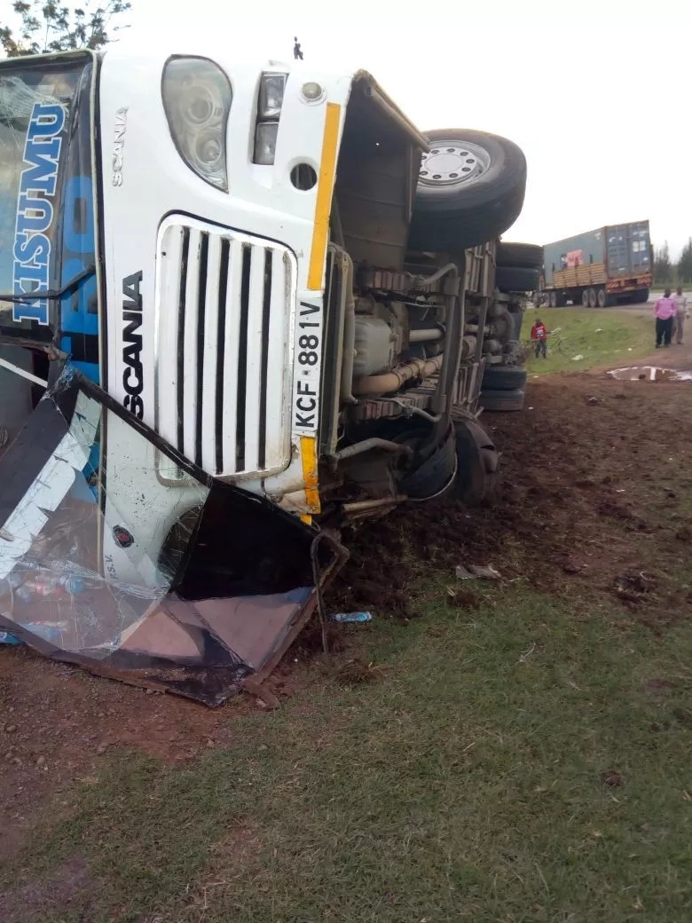 Mash Cool bus overturns at the Salgaa blackspot