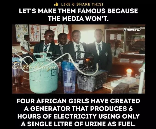 Nigerian Girls' Science Project Turns One Liter of Urine Into Six Hours of Electricity