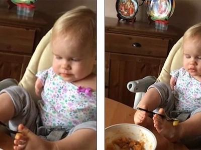 ¡MIRA! El increíble momento en que bebita sin brazos aprende a alimentarse a sí misma usando sus pies