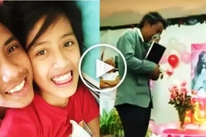 Grieving Pinoy cries hard while dancing with picture of deceased girlfriend at celebration of her 18th birthday