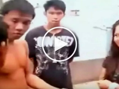 Intimidating Pinoy bullies his little sister's nervous suitor in public