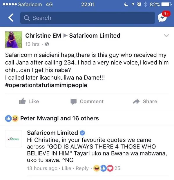 Safaricom customer care has a perfect answer for a lonely Kenyan girl who wants a husband?