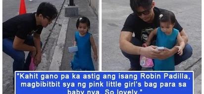 Astig ni idol! Netizens express admiration for daddy Robin Padilla for carrying Isabella's pink bag