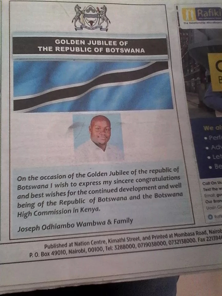 Luo man spends on newspaper advert