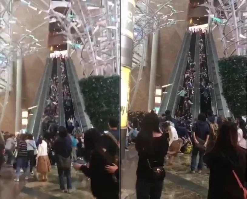 Escalator suddenly goes into REVERSE direction throwing shoppers into air, 18 injuried