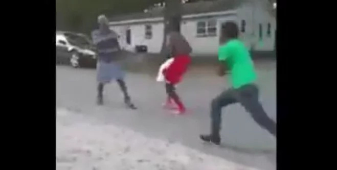 Two brothers fight a man that beat their mother