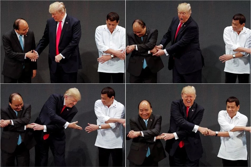 LOOK: Trump had trouble doing the ASEAN hand link for photo op
