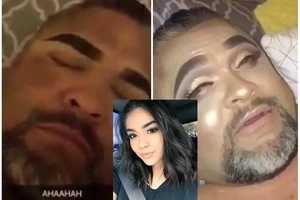 Naughty! Teen gives father total facial MAKEOVER while he sleeps, see his reaction when he wakes up (photos)