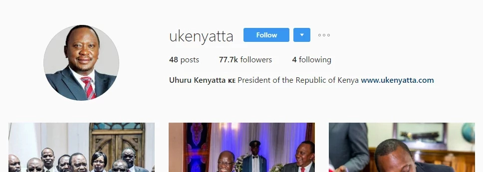 Meet the ONLY four people President Uhuru Kenyatta is following on Instagram