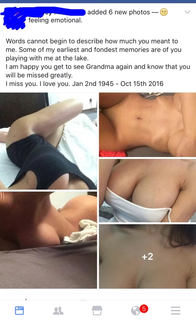 Girl Accidentally Posts Nudes On Emotional Facebook Update On Dead Grandpa