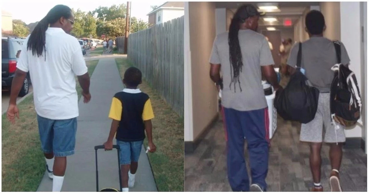 Inspiring photo shows dad walking son to kindergarten and then to college years later