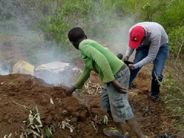 This 10-year-old boy has ben forced to burn charcoal to save his family of 6 after their dad disappeared.James Kinyua/Facebook