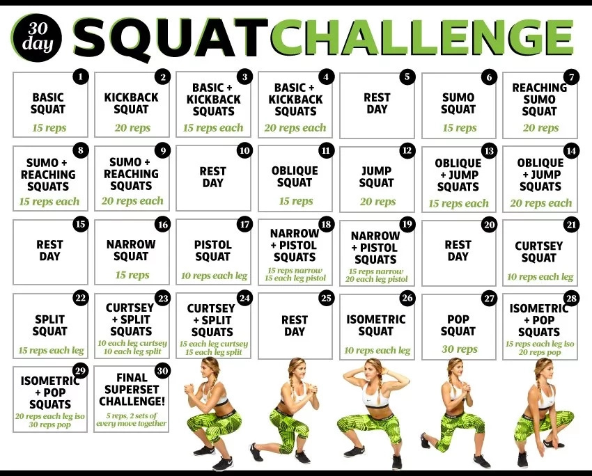 30-Day Squat Challenge - Get Brazilian Butt In 1 Month