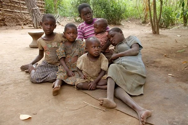 Gumisiriza (with striped T-shirt) with his siblings. Photo: Daily Monitor