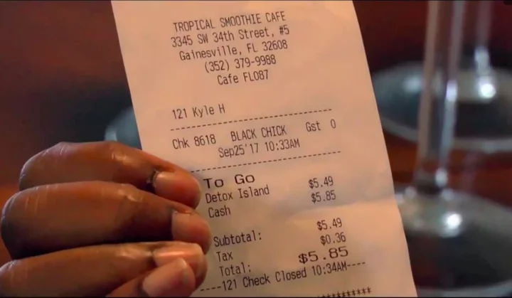 "An employee labeled her ""black chick"" instead of writing her name on the receipt. Photo: WGFL"