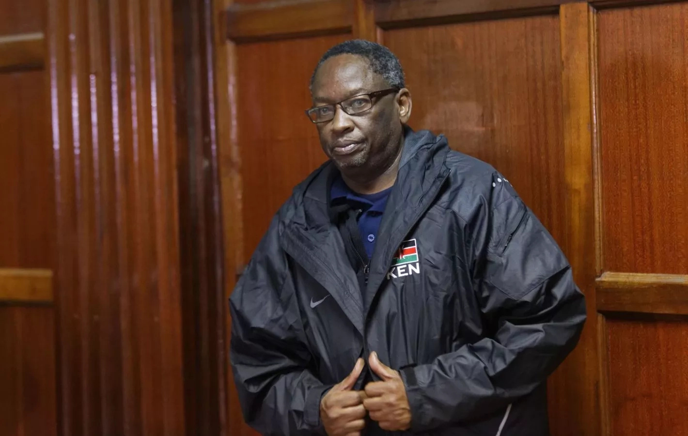 Ben Akumbo appears in court dressed in clothes that he was accused of stealing