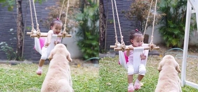 Ang next Marimar at Fulgoso! Baby Zia has a whale of time playing with her new bestfriend dog