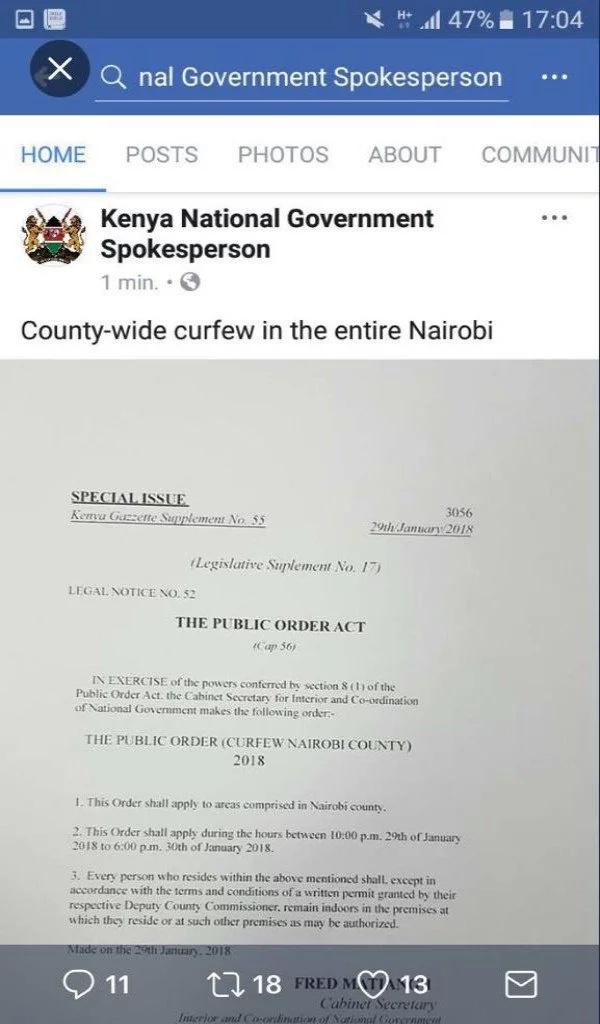 Govt denies declaring curfew in Nairobi ahead of Raila's swearing-in