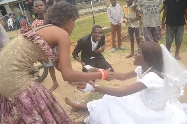 Drama as bride FLEES from wedding altar with pleading groom in hot pursuit (photos)