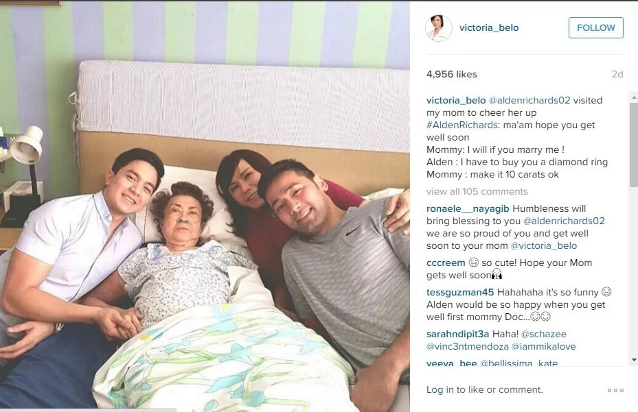 Alden visits Vicki Belo's mom, jokes about marriage