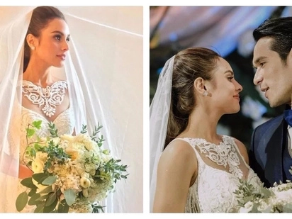 What a beautiful bride! Max Collins wows guests in her Francis Libiran wedding gown