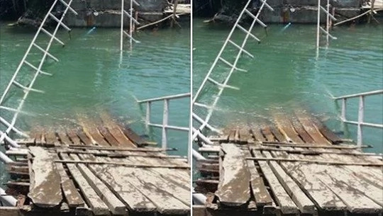 Footbridge collapses into river after heavy rains