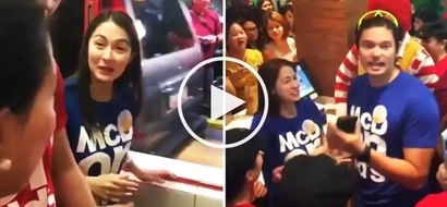 McDonald's customers go crazy as Marian Rivera & Dingdong Dantes distribute free sandwiches
