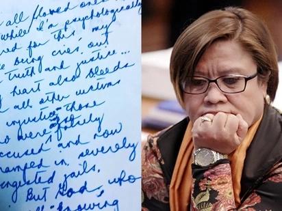 Senator Leila de Lima's handwritten letter to her loved ones after her arrest goes viral