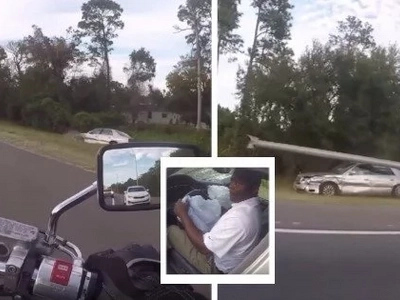 This biker followed a car out of the road lane. Then after several minutes, the car stopped and he noticed the guy is acting strange! (video)