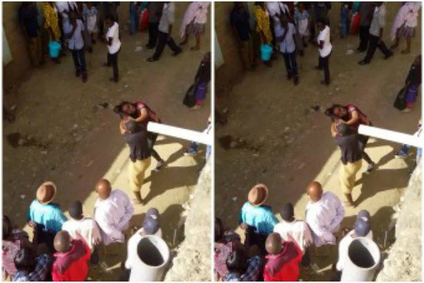 Two women fight over a man in Mwiki estate
