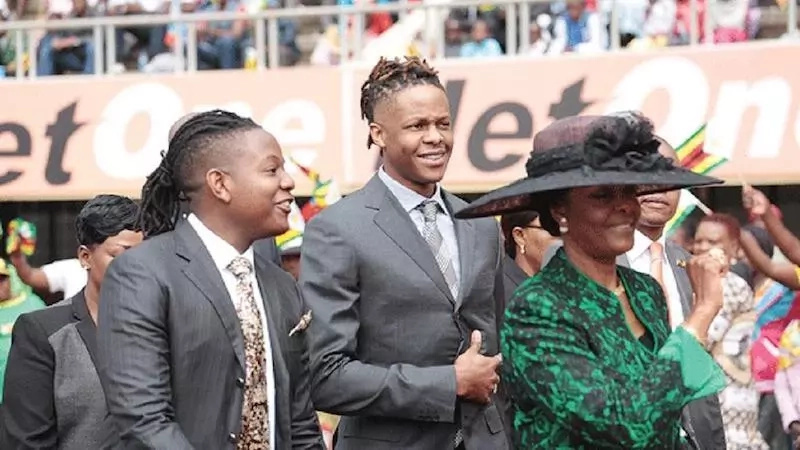 Grace Mugabe and her sons Chatunga and Robert Jr. Photo: Africanews.com