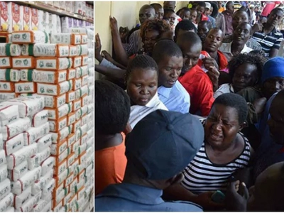 RIDICULOUS scenes in Kisumu as residents scramble for subsidised KSh 90 Unga (Photos)