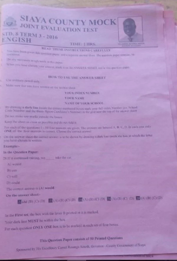 The staggering amount Siaya governor spent to have his face on Mock exam papers
