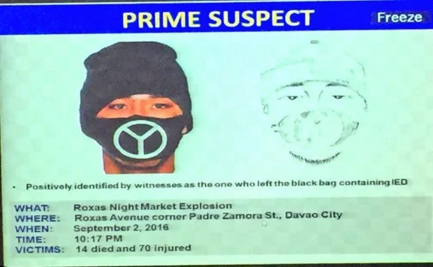 PNP releases artist's sketch of Davao bombing suspect