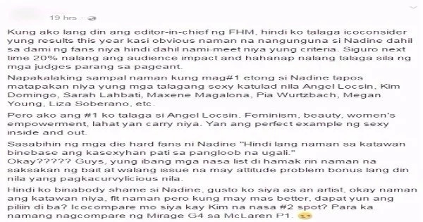 A netizen bashed Nadine Lustre saying that she does not deserve the #1 Spot on FHM's poll