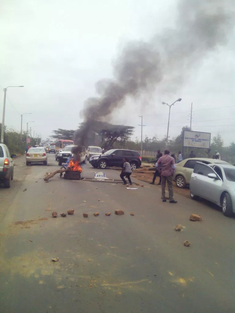 University students block Magadi road again using burning tires