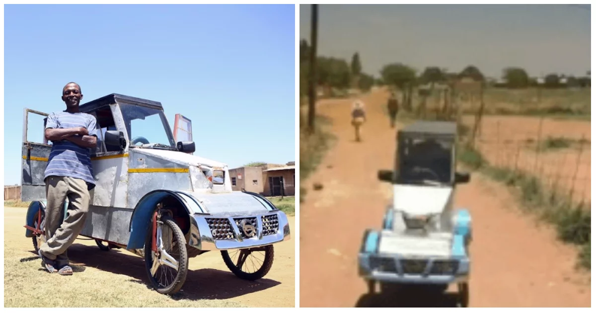 Jobless man, 50, becomes village celebrity after he built a pedal car from scrap metals
