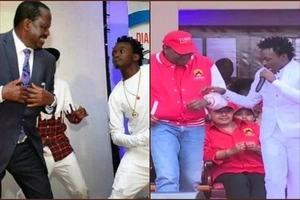 2 time singer Bahati brought out the best dancing styles from Uhuru and Raila Odinga