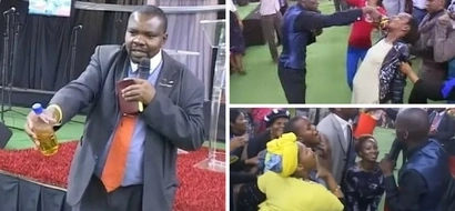 Pastor makes church members drink fuel (video)
