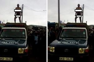 The weird reason why a Kenyan woman danced naked on top of a police vehicle