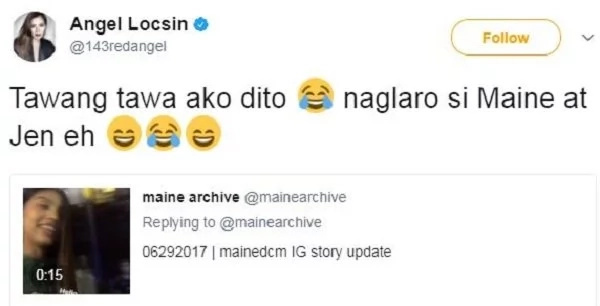 Angel Locsin reacts to Maine Mendoza's video mimicking her voice
