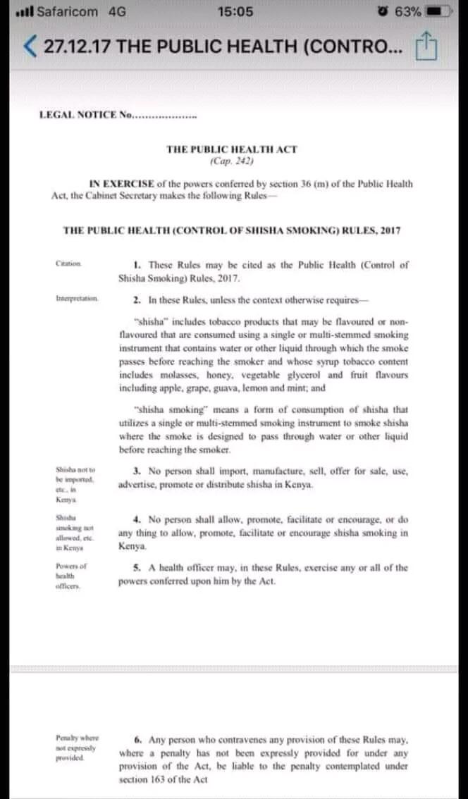 Govt bans importation, manufacturing, sale and use of shisha