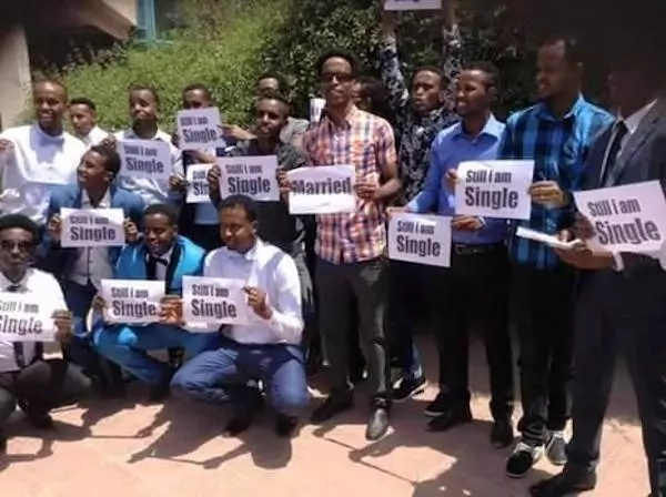 Single men in protest against outrageous BRIDE prices (see photos)
