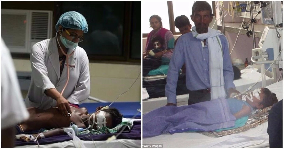 A doctor attends to a child (left) while a father watches over his child at the hospital (right). Photos: Daily Mail
