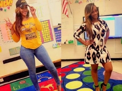 Photos of the sexiest teacher alive that parents wanted sacked for wearing tight dresses