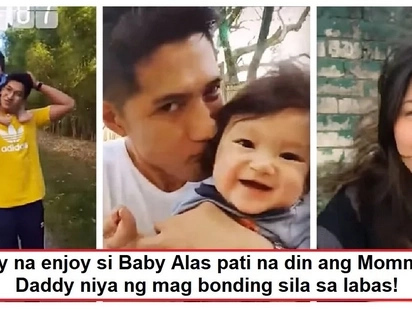 Pagka-guwapong bata! Baby Alas bonding with Daddy Aljur and Mommy Kylie was caught on video