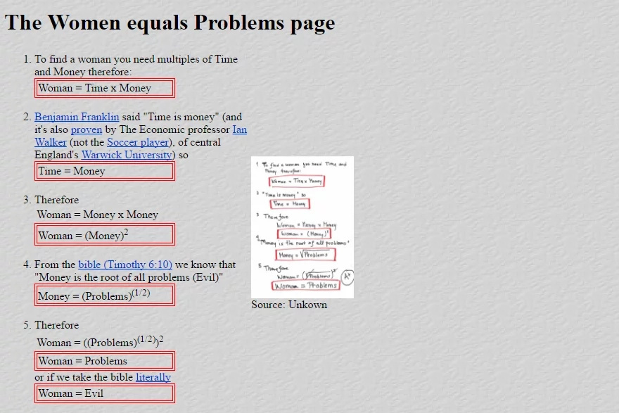 Men find a way to explain mathematically that women are nothing but problems