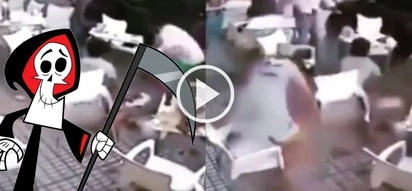 Shocking video of bricks falling onto people eating lunch is proof Death is always at our side