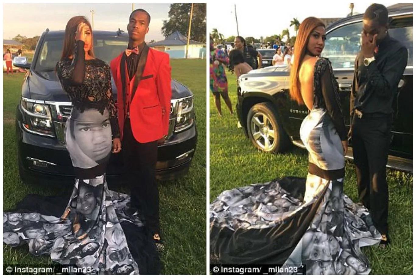 Girl, 17, wears Black Lives Matter prom dress commemorating slain black men and women