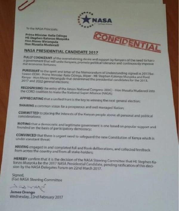 Upinzani waongolea stakabadhi hii inayoashiria kuwa Kalonzo ndiye mpeperushaji bendera ya NASA